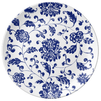 Plato De Porcelana Placa floral azul