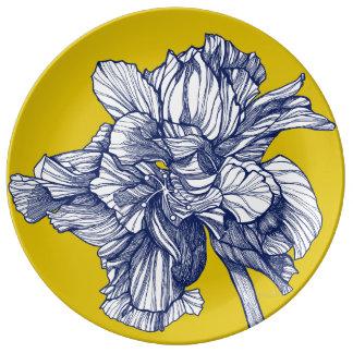 Plato De Porcelana Placa mediterránea de la porcelana del hibisco