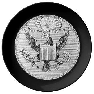 Plato De Porcelana Placa negra de E Pluribus Unum