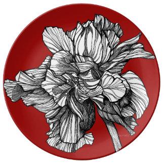 Plato De Porcelana Placa roja de la porcelana de China del hibisco