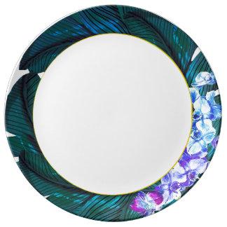 Plato De Porcelana Placa tropical de la orquídea