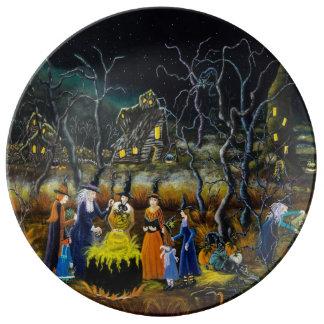 Plato De Porcelana Placas decorativas de Halloween, brujas con la