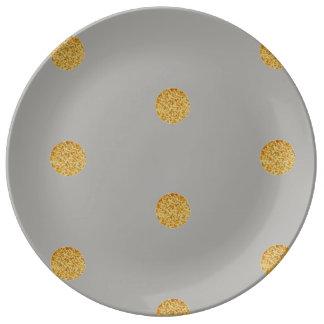 Plato De Porcelana Placas festivas de la porcelana del gris y del oro