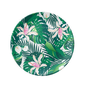 Plato De Porcelana Plantas enormes verdes