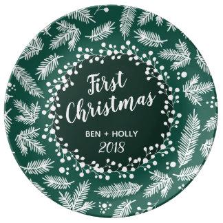 Plato De Porcelana Primer navidad que casa el árbol de hoja perenne
