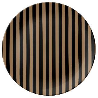 Plato De Porcelana Rayas finas - negras y Brown pálido
