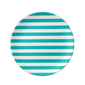 Plato De Porcelana Rayas horizontales de la aguamarina