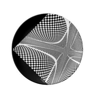 Plato De Porcelana Remolino a cuadros blanco y negro
