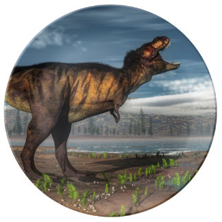 Plato De Porcelana Rex del Tyrannosaurus