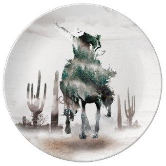 Plato De Porcelana Rodeo - exposición doble - vaquero - vaquero del