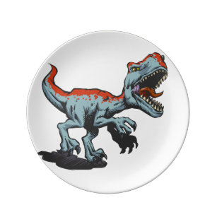 Platos Dibujo Animado De Los Dinosaurios Zazzle Es