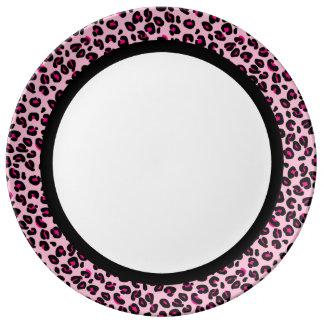 Plato De Porcelana Rosas fuertes y leopardo rosado con la banda negra