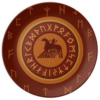 Plato De Porcelana Runas de Viking