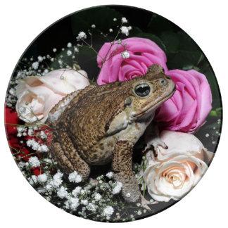 Plato De Porcelana Sapo del bastón en flores