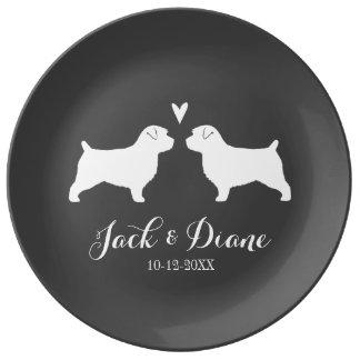 Plato De Porcelana Siluetas de Norfolk Terrier con el corazón y el