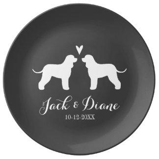 Plato De Porcelana Siluetas del perro de aguas de agua irlandesa con