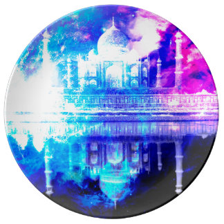 Plato De Porcelana Sueños del Taj Mahal del cielo de la creación