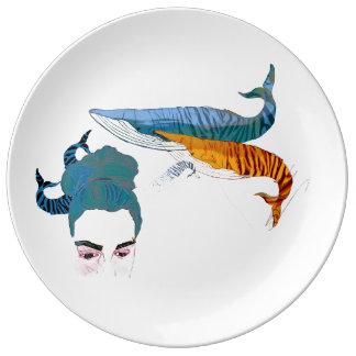 Plato De Porcelana Sueños rayados de la ballena del tigre