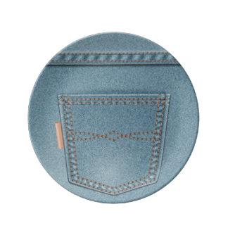 Plato De Porcelana Tejanos del dril de algodón del bolsillo
