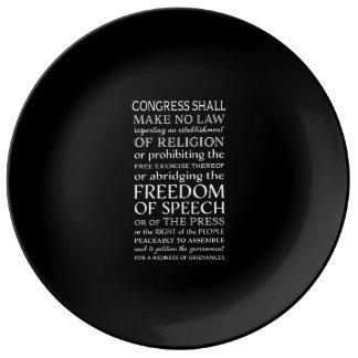 Plato De Porcelana Texto de la Declaración de Derechos de la libertad