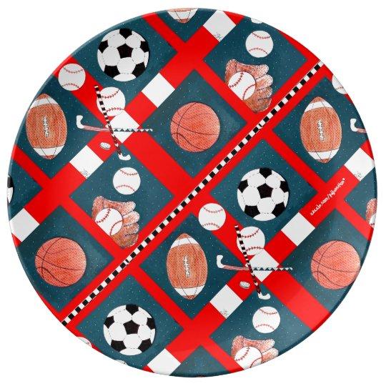 Plato De Porcelana Todos los amantes de los deportes coloridos