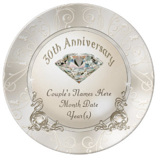 Plato De Porcelana Trigésimos regalos personalizados del aniversario