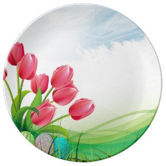 Plato De Porcelana Tulipanes de la primavera y huevos de Pascua