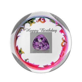 Plato De Porcelana Un cumpleaños Amethyst