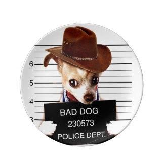 Plato De Porcelana vaquero de la chihuahua - perro del sheriff