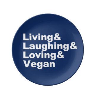 Plato De Porcelana Vida y risa y amor y vegano (blancos)