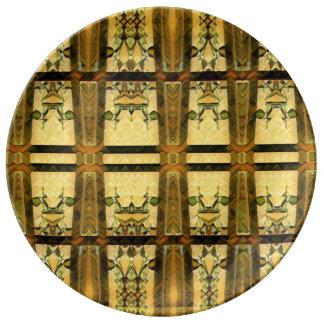 Plato De Porcelana vidrio de la capilla en oro en una placa