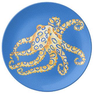 Plato De Porcelana Vitral azul del pulpo