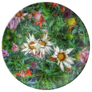 Plato De Porcelana Wildflower en una placa de la porcelana