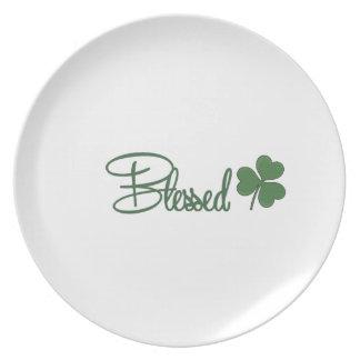 Plato ☘ del diseño del día de St Patrick bendecido