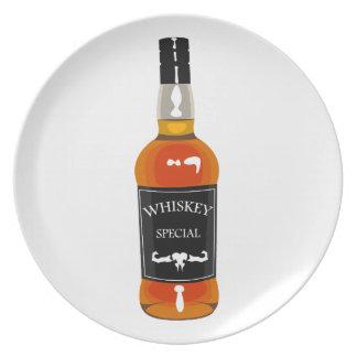 Plato Dibujo de la botella de whisky aislado en