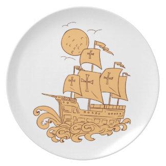 Plato Dibujo de la luna del velero de Caravel