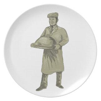 Plato Dibujo del disco de la comida de la porción del