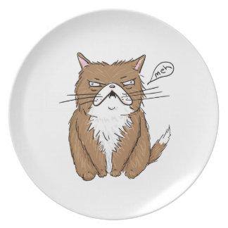 Plato Dibujo gruñón divertido del gato de Meh