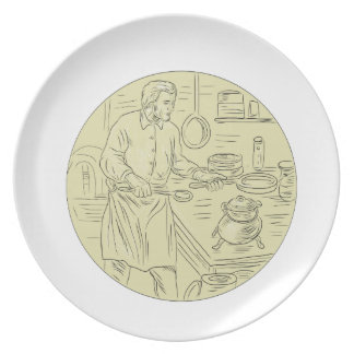 Plato Dibujo oval de la cocina medieval del cocinero