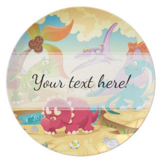 Plato Dinosaurios coloridos del dibujo animado de la