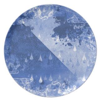 Plato Diseño azul abstracto de las gotas de lluvia