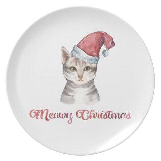Plato Diseño del navidad de Meowy para los amantes del