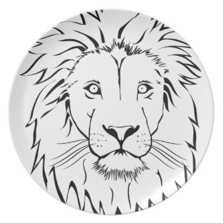 Plato diseño del vector del dibujo del león