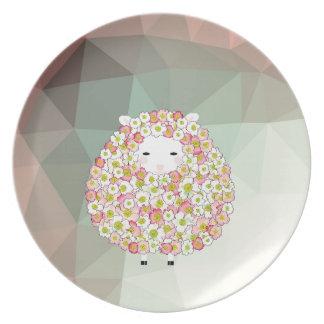 Plato Diseño florido de las ovejas del tono en colores