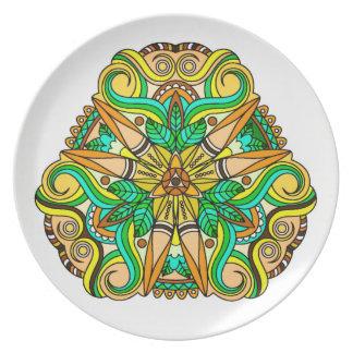 Plato Diseño inspirado nativo americano único