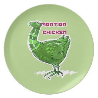 Plato ejemplo divertido del pollo del estilo marciano