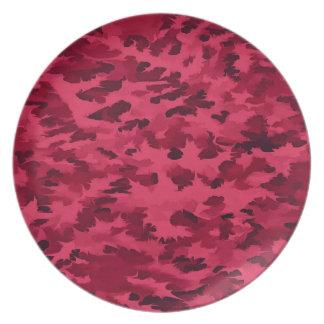 Plato El arte pop abstracto del follaje se ruboriza rojo