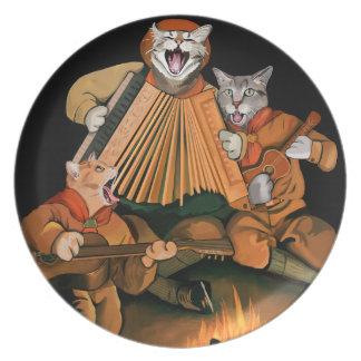 Plato El gato oficial explora placa retra de la melamina