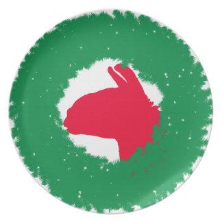 Plato El navidad enrruellan y la tarjeta de Navidad y