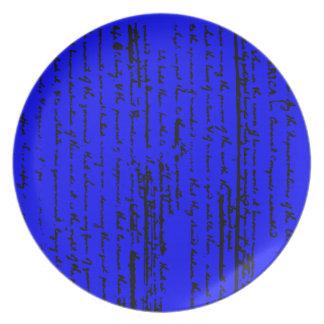 Plato Escritura hermosa del proyecto por Thos. Jefferson
